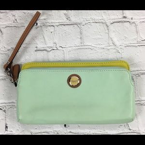 COACH Mint Green Leather Wristlet